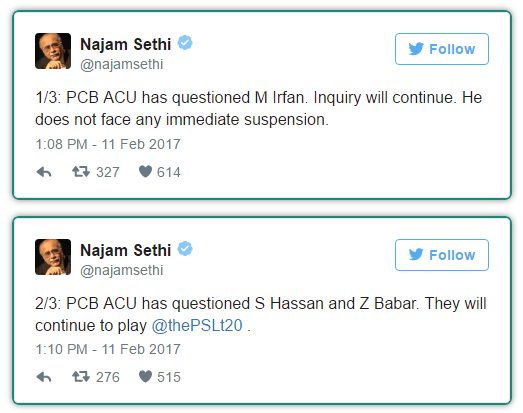 Najam Sethi Tweets on Muhammad Irfan