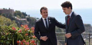 Justin Trudeau Emmanuel Macron Meeting at G7 Summit